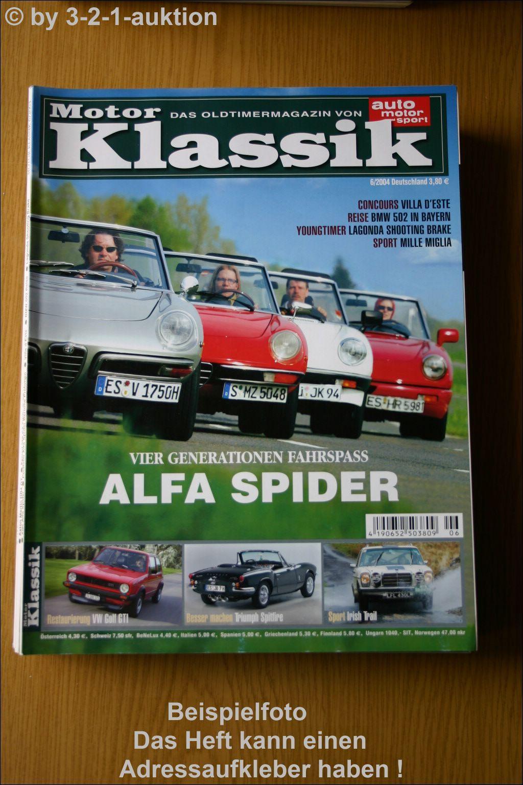 motor klassik 6 04 alfa spider vw golf gti bmw 502 ebay. Black Bedroom Furniture Sets. Home Design Ideas